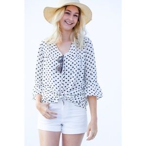 Tops - Polka Dot Tie Front Top New S M L Black and White